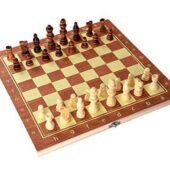 Wooden Folding Chess Set, Wooden Chess Board Set with 32 Pieces Game for Kids & Family
